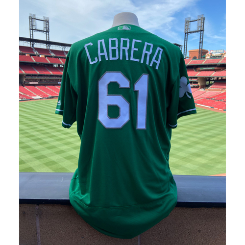 Photo of Cardinals Authentics: Team Issued Genesis Cabrera St. Patrick's Day Jersey