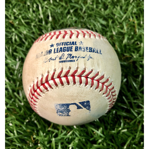 Photo of Game Used Baseball: Dansby Swanson HOME RUN (2) off Tyler Glasnow - July 27, 2020 v ATL