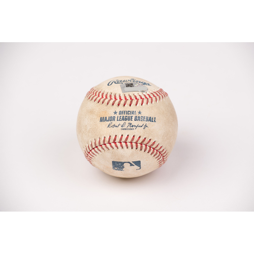 Photo of Game Used Baseball: Pitcher: Andrew Heaney, Batter: Max Muncy - 2-RBI Single - Top 3 - 8-15-2020 vs. LAD