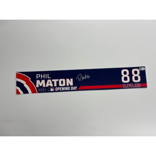 Photo of Game- Used Locker Name Plate- Phil Maton Autographed- Opening Day Royals at Indians 4/5/2021