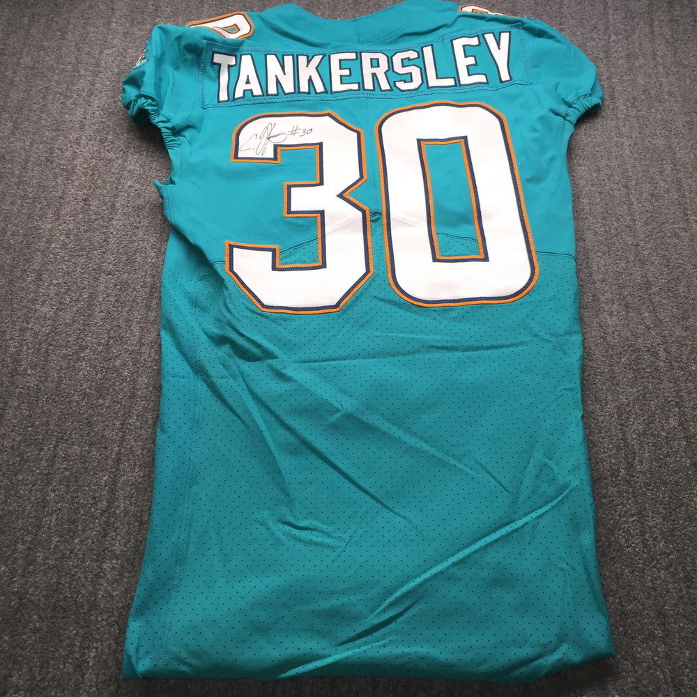 London Games - Dolphins Cordrea Tankersley Signed Game Issued Jersey (2017) Size 38