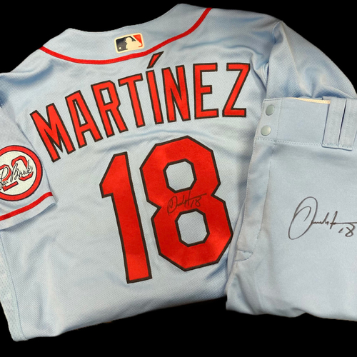 Photo of Carlos Martinez Autographed Team Issued Road Alternate Jersey w/ Lou Patch (Size 42) and Autographed Team Issued Road Alternate Pants (Size 36)