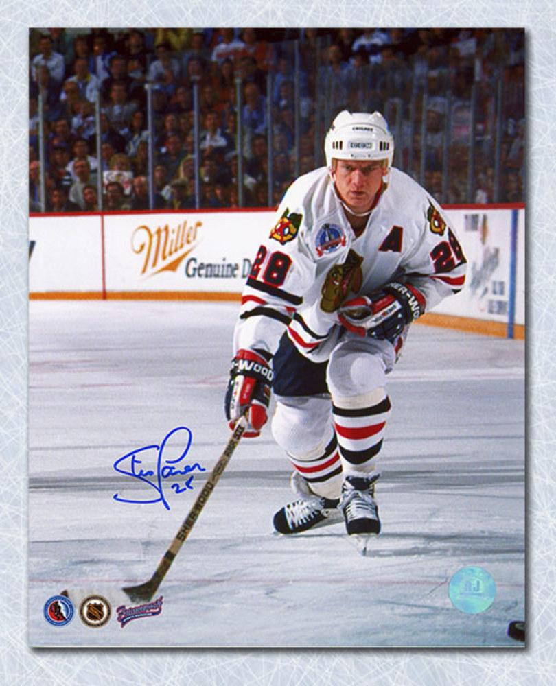 Steve Larmer Chicago Blackhawks Autographed Cup Finals Action 8x10 Photo