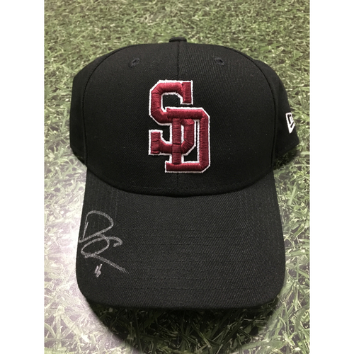 Photo of Domingo Santana Autographed, Game Worn Stoneman Douglas Eagles Cap