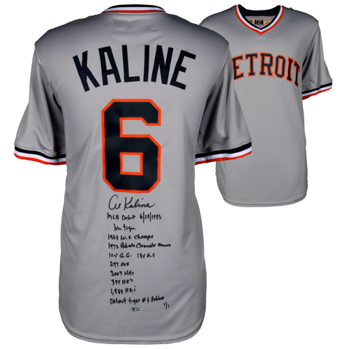 Photo of Al Kaline Detroit Tigers Autographed Majestic Replica Jersey with Multiple Inscriptions - Limited Edition 1 of 1