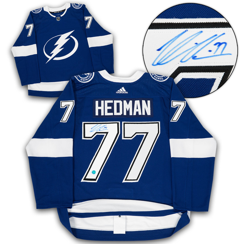 Victor Hedman Tampa Bay Lightning Autographed Adidas Authentic Hockey Jersey