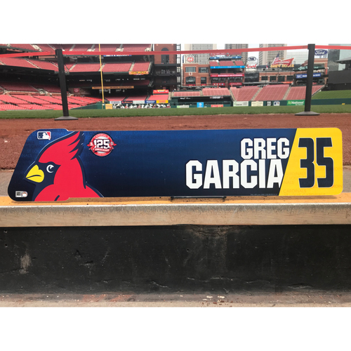 Photo of Cardinals Authentics: Greg Garcia Game-Used Locker Tag