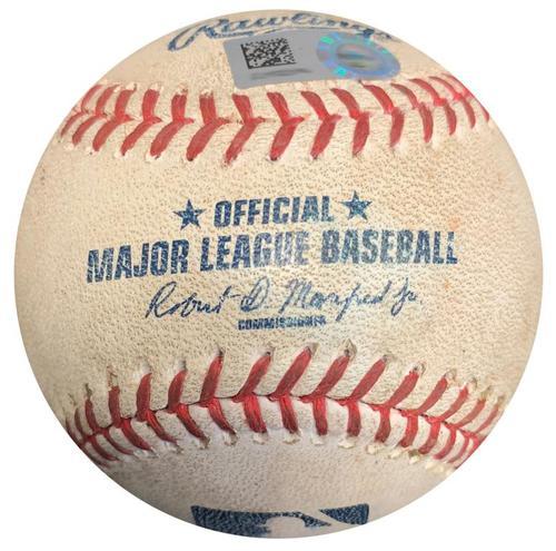 Photo of Game-Used Baseball from Pirates vs. Astros on 8/23/16 - Matt Joyce RBI Double