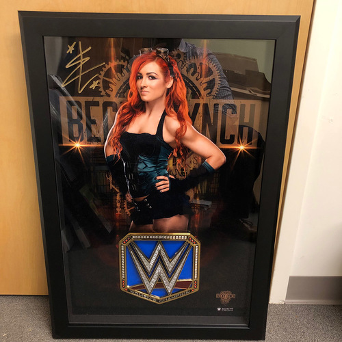 Photo of Becky Lynch SIGNED and Framed Poster & WWE SmackDown Women's Championship Medallion