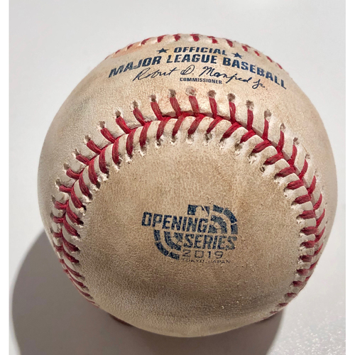 Photo of 2019 Japan Opening Day Series - Game Used Baseball - Batter: Ramon Laureano Pitcher : Yusei Kikuchi - Single