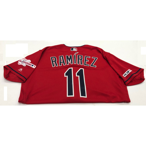 Photo of Jose Ramirez Game Used 2019 Opening Day New Home Alternate (Red) Jersey