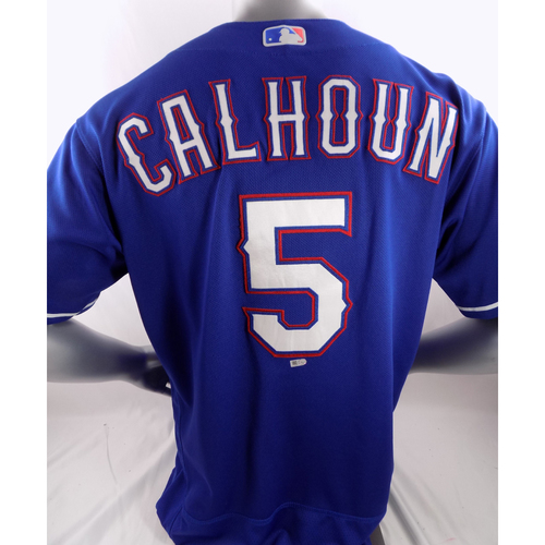 Photo of Game-Used Home Run Blue Jersey - Willie Calhoun - 7/24/18