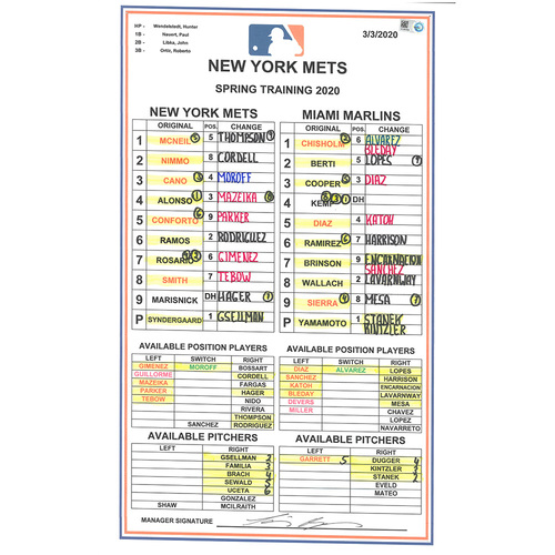 Photo of Team Issued Lineup Card - 2020 Spring Training - Syndergaard Start, Lineup Included Alonso, Gimenez, Tebow, Conforto - Mets vs. Marlins - 3/3/20