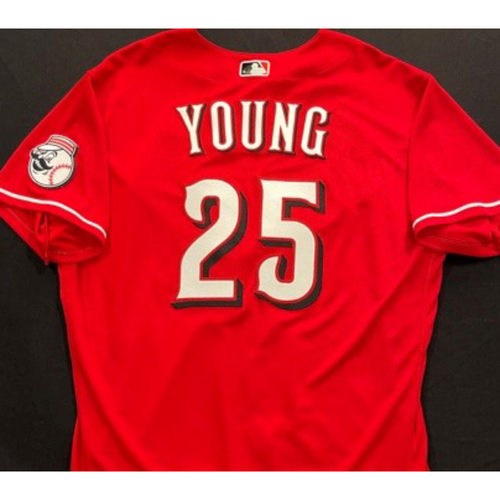 Photo of YOUNG -- Authentic Reds Jersey -- $1 Jersey Auction -- $5 Shipping -- Size 48 (Not MLB Authenticated)