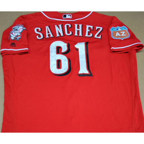 Photo of Game-Used 2016 Spring Training Jersey - Jonathan Sanchez - Size 48 - Cincinnati Reds