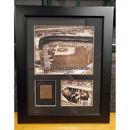 Photo of Framed Piece of Crosley Field Dugout Bench (Number 56 of 150)