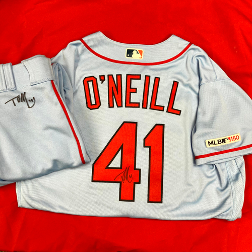 Photo of Tyler O'Neill Autographed Team Issued Road Alternate Jersey (Size 46) and Autographed Team Issued Road Alternate Pants (Size 34)
