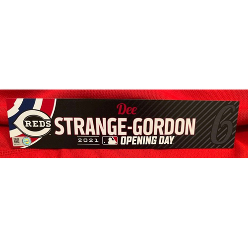 Photo of Dee Strange-Gordon -- 2021 Opening Day Locker Tag -- Team-Issued -- Cardinals vs. Reds on 4/1/21