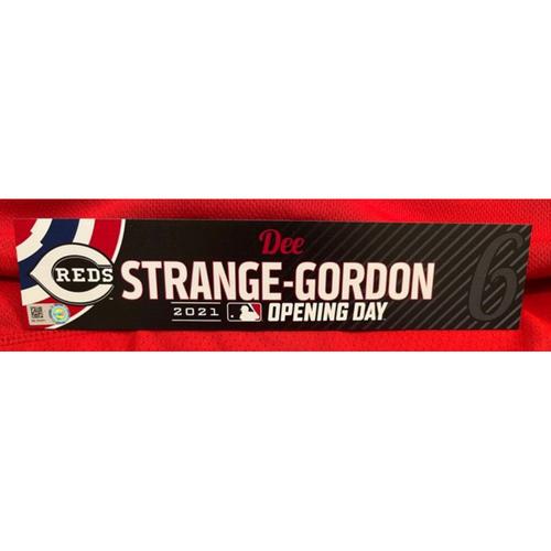 Dee Strange-Gordon -- 2021 Opening Day Locker Tag -- Team-Issued -- Cardinals vs. Reds on 4/1/21