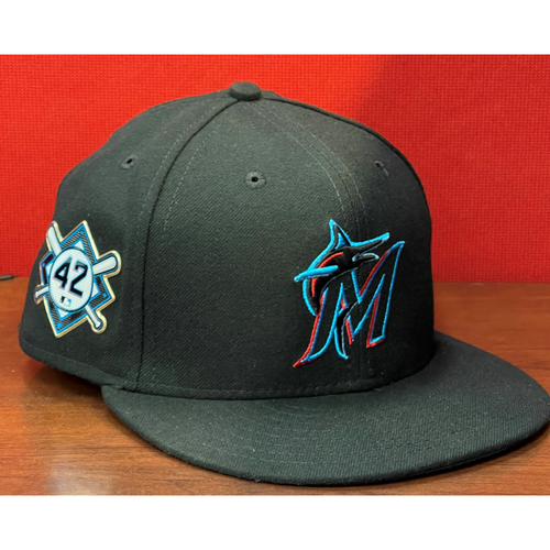Photo of Miami Marlins Jackie Robinson Commemorative Game-Used Chad Wallach Size 7 3/8 Cap