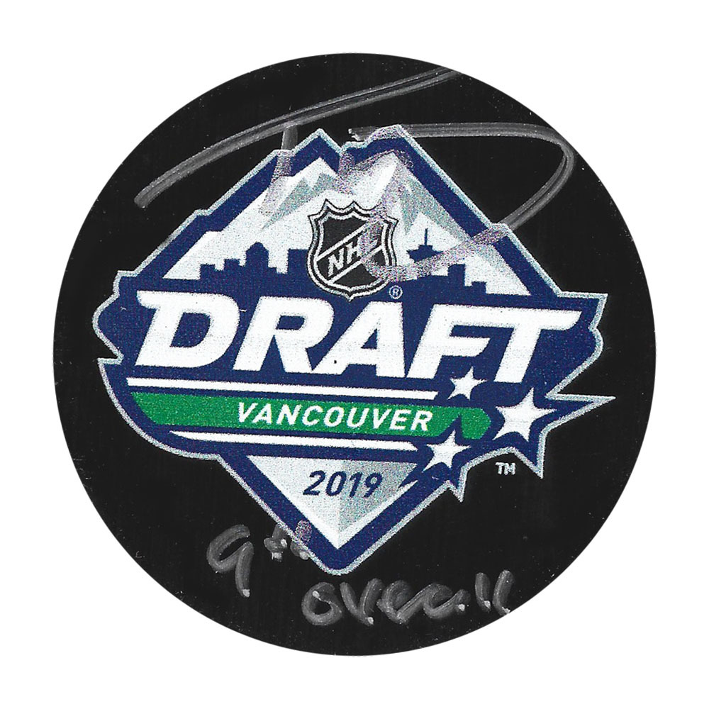 Trevor Zegras Autographed 2019 NHL Entry Draft Puck w/9TH OVERALL Inscription