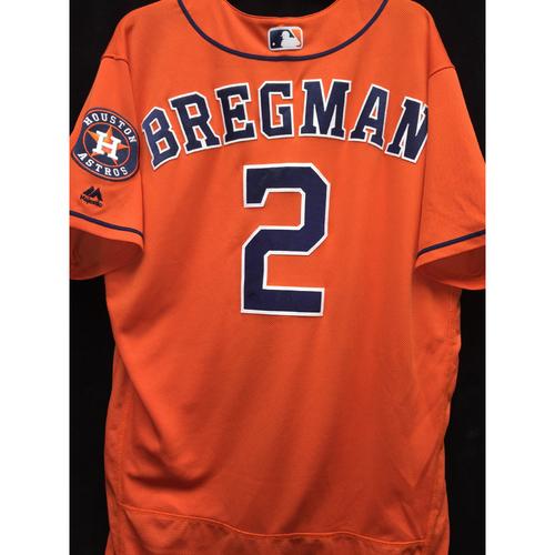 finest selection 4b146 8f7b0 MLB Auctions | #2 Alex Bregman Game-Used Orange Alternate Jersey