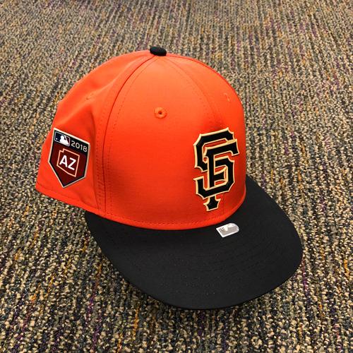 Photo of 2018 San Francisco Giants - 2018 Orange Spring Training Game Used Cap used by #10 Evan Longoria