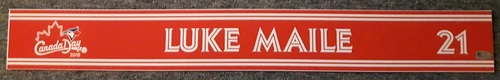 Photo of Authenticated Game Used 2018 Canada Day Locker Tag (July 1, 2018) - #21 Luke Maile: Defensive Replacement
