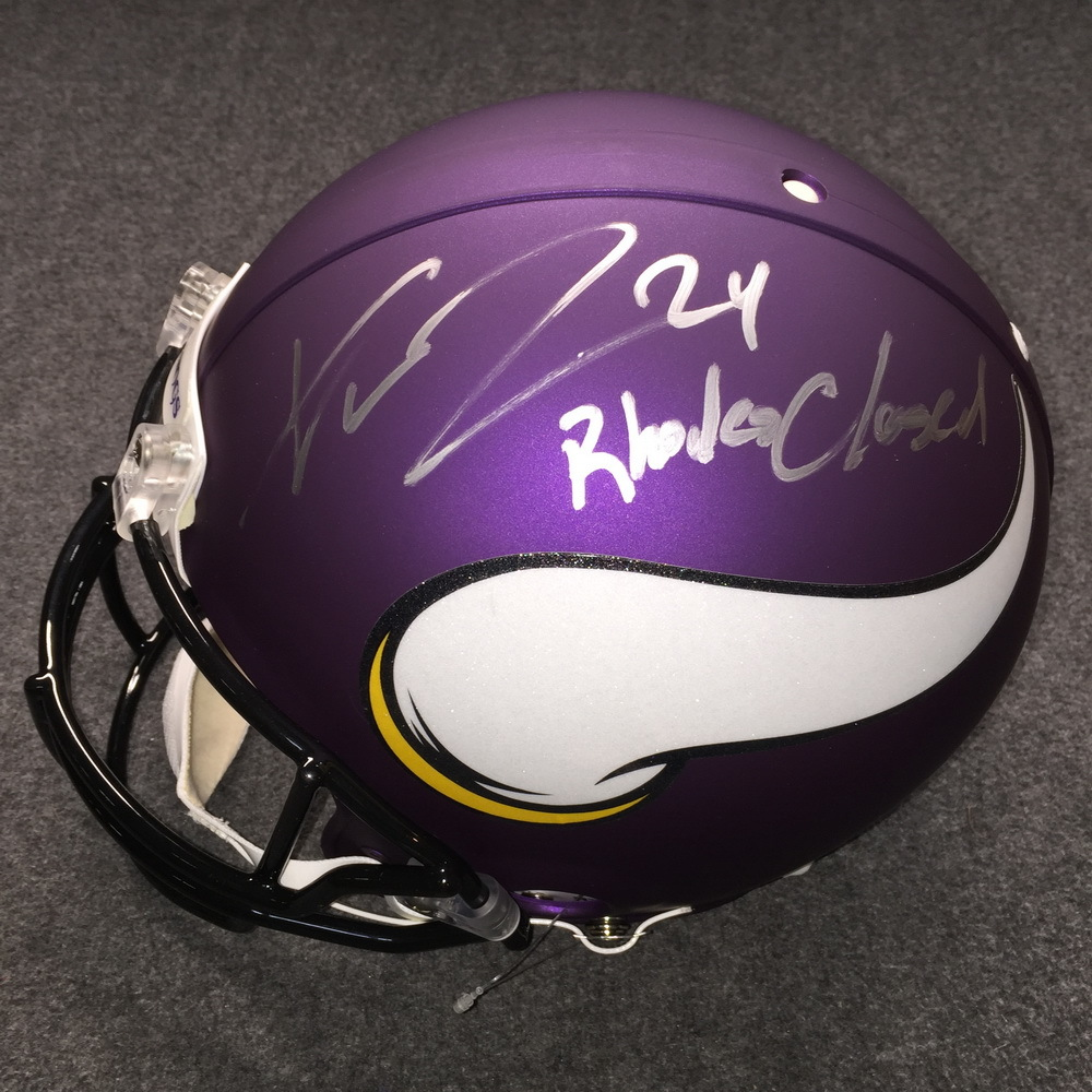 NFL - Vikings Xavier Rhodes signed Vikings proline helmet w/ Rhodes Closed inscription