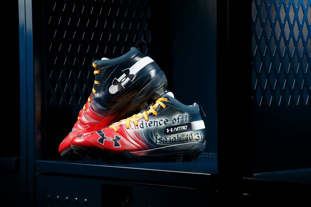 MY CAUSE MY CLEATS - DENVER BRONCOS CASE KEENUM GAME WORN CUSTOM CLEATS