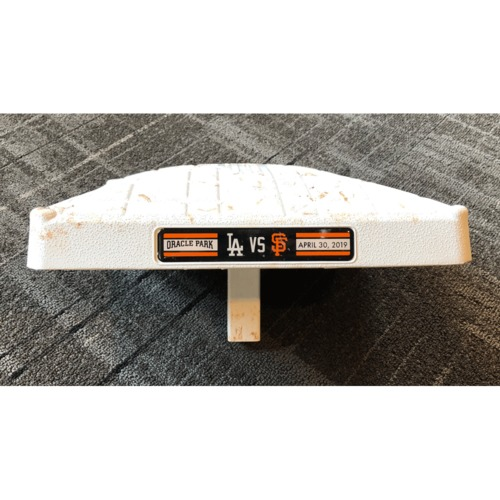Photo of 2019 Game Used Base - San Francisco Giants vs. Los Angeles Dodgers - 3rd Base from Innings 1-3 on 4/30/19