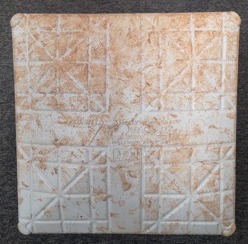 Photo of Authenticated Game Used Base - 1st Base for Innings 1 to 3 (Sep 13-15, 19 vs NYY). In Place for an Aaron Judge HR.