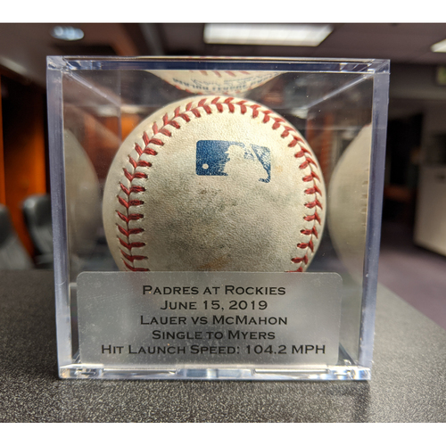 Photo of Colorado Rockies Game-Used Baseball - Pitcher: Eric Lauer, Batter: Ryan McMahon (Single to Myers) - June 15, 2019 vs San Diego Padres