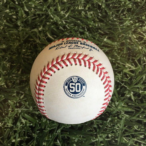 Photo of Game-Used Baseball MIN@MIL 08/12/20 - Kenta Maeda - Eric Sogard: Single