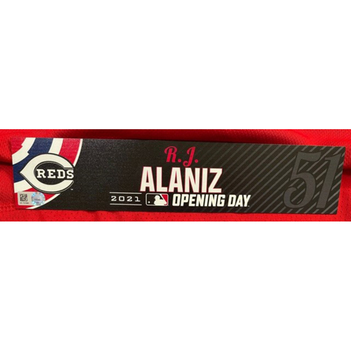 Photo of R.J. Alaniz -- 2021 Opening Day Locker Tag -- Team-Issued -- Cardinals vs. Reds on 4/1/21