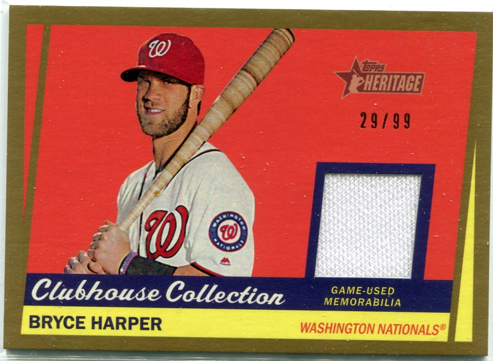 2016 Topps Heritage Clubhouse Collection Relics Gold game worn jersey Bryce Harper 29/99