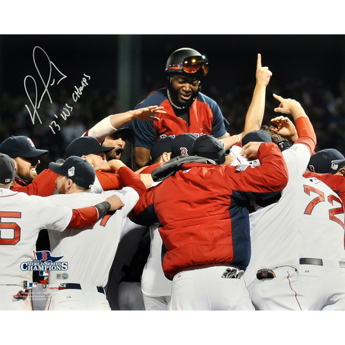 "Photo of David Ortiz Boston Red Sox 2013 World Series Champions Autographed 16"" x 20"" Team Celebration Photograph with 2013 WS Champs Inscription"