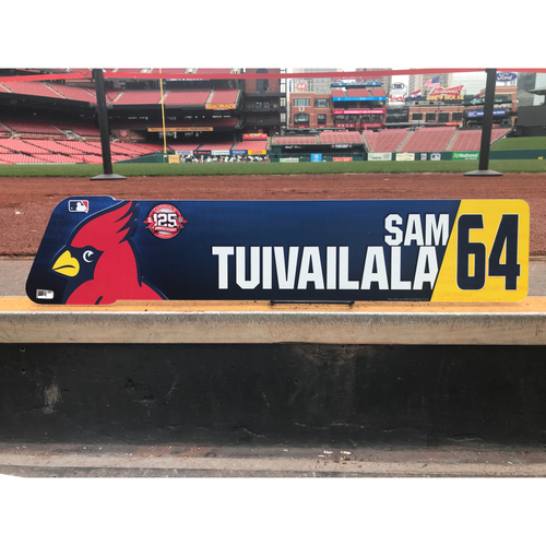 Photo of Cardinals Authentics: Sam Tuivailala Team-Issued Locker Tag