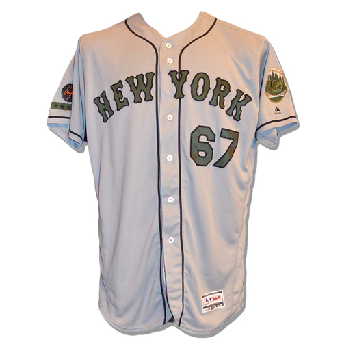 Photo of Seth Lugo #67 - Game Used Road Grey Memorial Day Jersey - Mets vs. Braves - 5/28/18