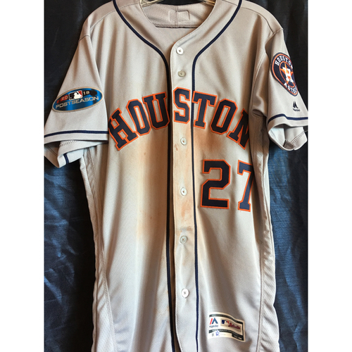 Photo of Jose Altuve 2018 ALCS Game 1 Road Gray Game-Used Jersey (Size 40)