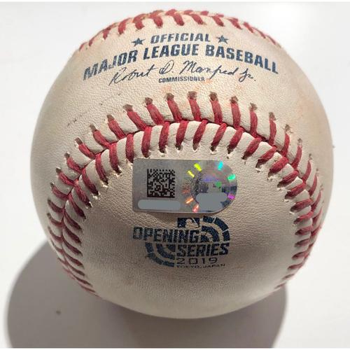 2019 Japan Opening Day Series - Game Used Baseball - Batter: Tim Beckham Pitcher : Fernando Rodney - Single