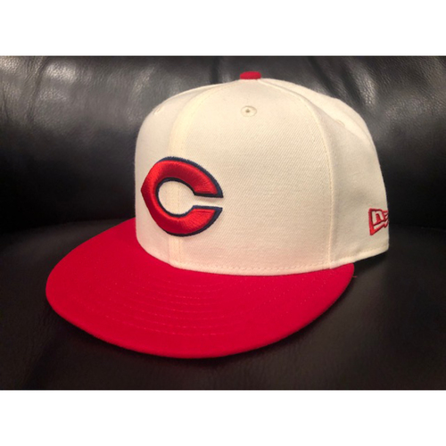 Photo of Eugenio Suarez -- Game-Used 1936 Throwback Cap (Starting 3B: Went 2-for-4, HR, 3 RBI, R) -- Cubs vs. Reds on June 30, 2019 -- Cap Size 7 1/4