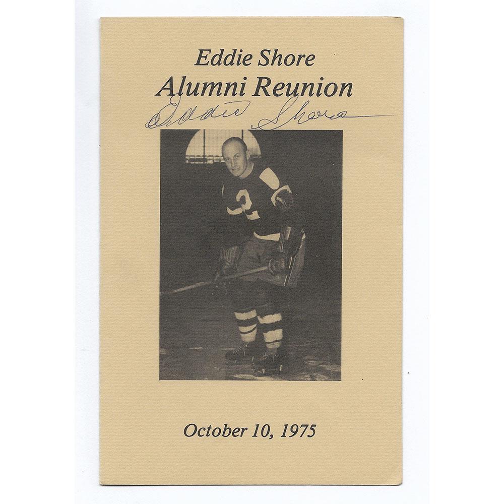 Eddie Shore Autographed 1975 Alumni Reunion Program