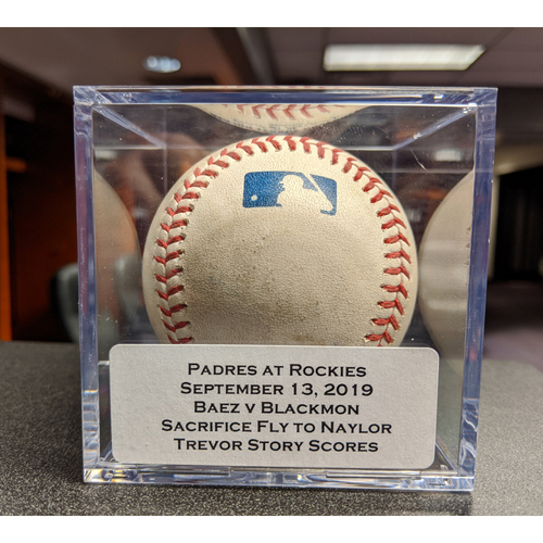 Photo of Colorado Rockies Game-Used Baseball - Pitcher: Michel Baez, Batter: Charlie Blackmon (Sacrifice Fly to Naylor, Story scores) - September 13, 2019 vs San Diego Padres