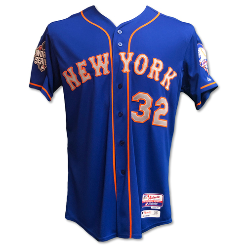 Photo of Steven Matz #32 - Team Issued Blue Alt. Road World Series Jersey