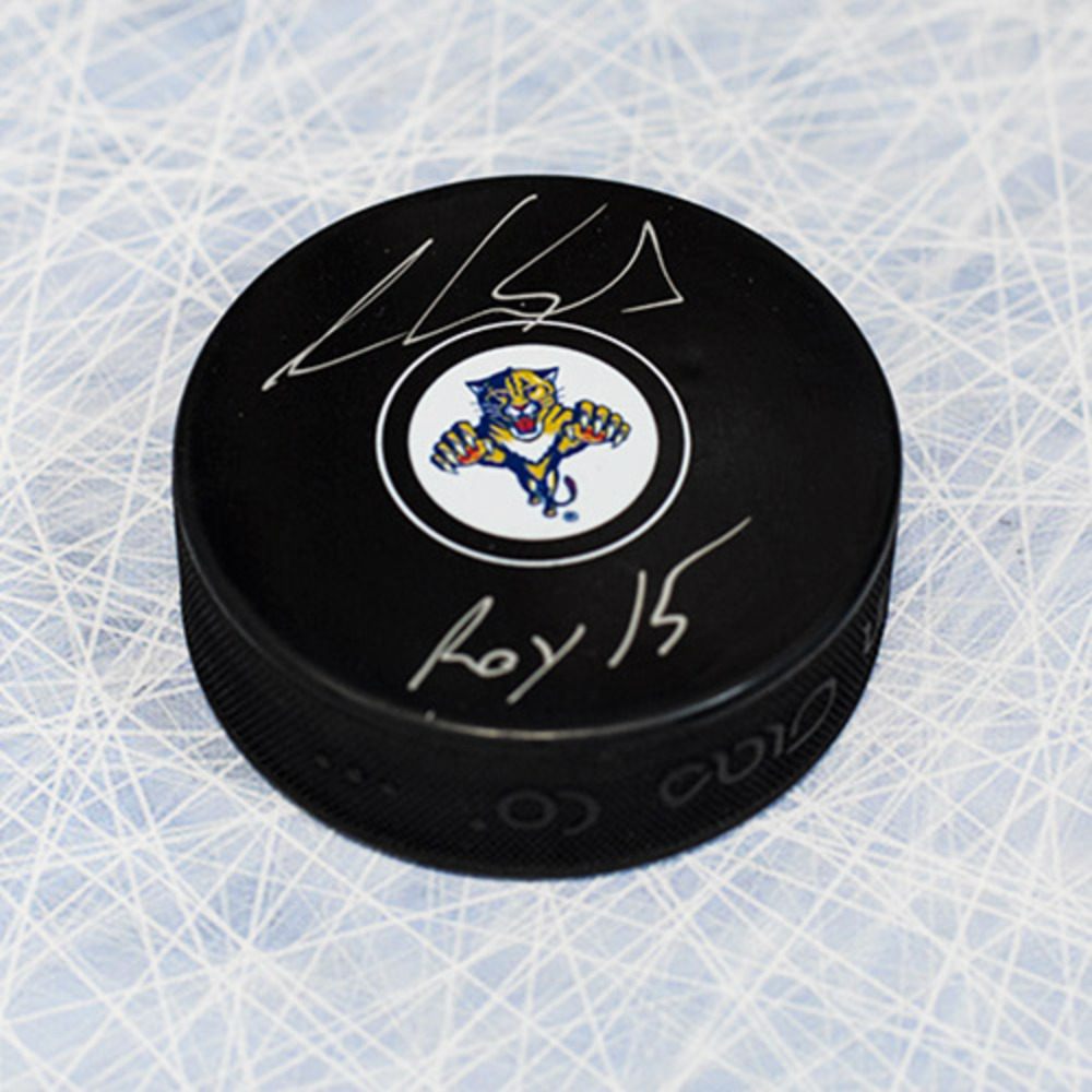 Aaron Ekblad Florida Panthers Autographed Hockey Puck with ROY 15 Inscription