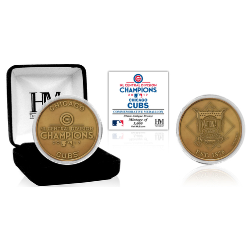 Serial #1! Chicago Cubs 2017 NL Central Division Champion Antique Bronze Mint Coin