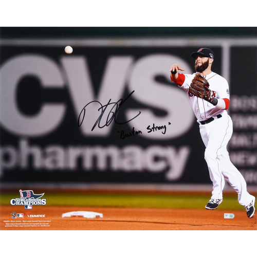 "Photo of Dustin Pedroia Boston Red Sox 2013 World Series Champions Autographed 16"" x 20"" Throwing Photograph with Boston Strong Inscription"