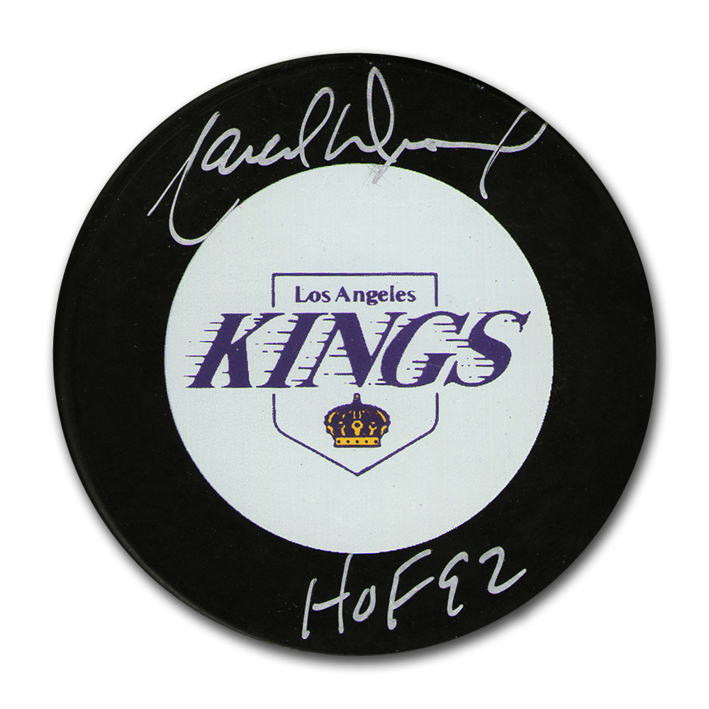 Marcel Dionne Autographed Los Angeles Kings Puck w/HOF 92 Inscription