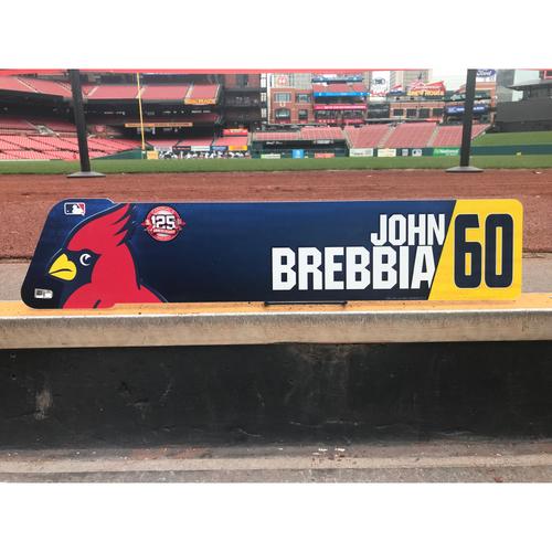 Photo of Cardinals Authentics: John Brebbia Game-Used Locker Tag